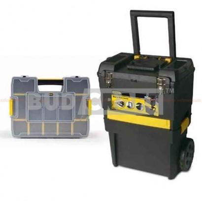 Тележка инструментальная (ящик для инструментов) на колесах с органайзером Stanley Rolling Workshop STST1-71187 / 470 x 297 x 620 мм