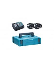 Комплект аккумуляторов Makita BL1830 18В/3A-год х 2шт + DC18RC + MakPac фото