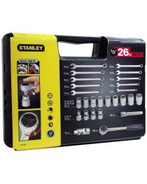 Набор головок торцевых и ключей комбинированных Stanley (26шт.) фото