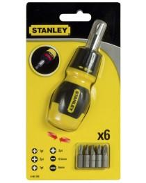 Отвертка реверсивная Stanley Multibit Stubby 0-66-358 / В комплекте 6 насадок фото