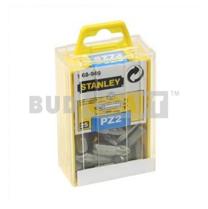 """Набор вставок Stanley с шестигранным хвостовиком 1/4"""" под шлиц Pozidriv Pz2-25мм (25шт) фото"""