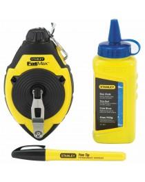 Шнур разметочный (трассер) Stanley FatMax® 0-47-681 / В комплекте с маркером и меловым порошком 115 г фото