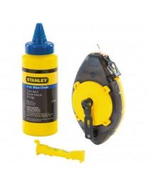 Шнур разметочный (трассер) Stanley PowerWinder 0-47-465 / В комплекте с подвесным уровнем и меловым порошком 45 г фото