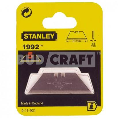 Набор лезвий для ножа Stanley 1992, 62х19х0,65мм для отделочных работ (5шт)